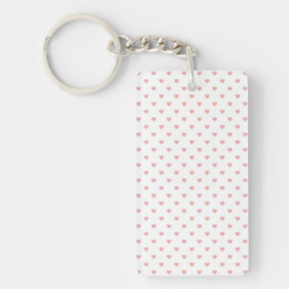 Blush Pink Candy Polkadot Hearts on White Single-Sided Rectangular Acrylic Key Ring