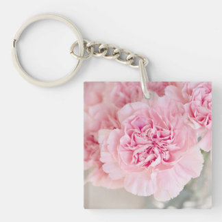 Blush Pink Carnations Single-Sided Square Acrylic Key Ring