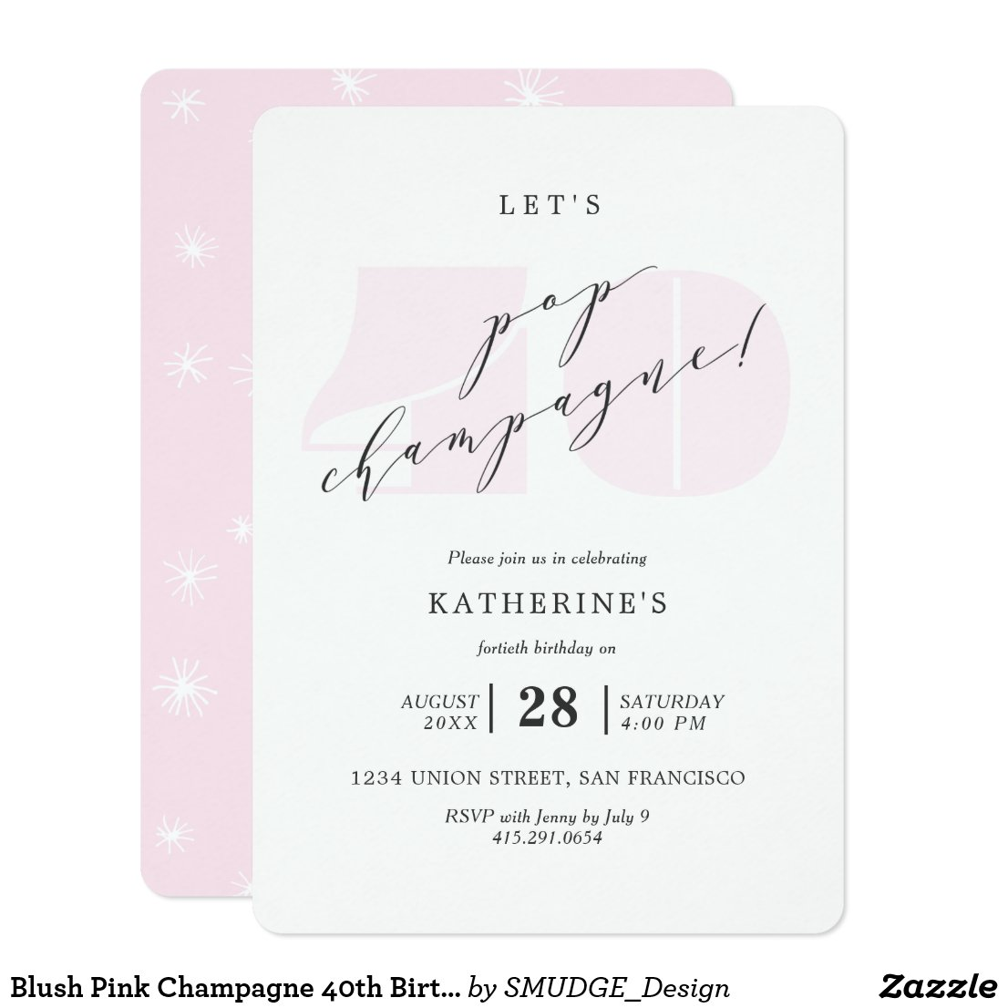Blush Pink Champagne 40th Birthday Party Invite