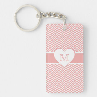 Blush Pink Chevron Heart Monogram Double-Sided Rectangular Acrylic Key Ring