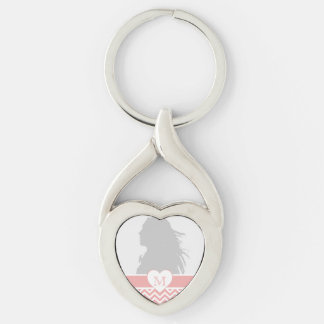 Blush Pink Chevron Heart Monogram Silver-Colored Twisted Heart Key Ring