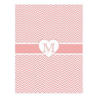 Blush Pink Chevron Heart Monogram Postcard