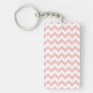 Blush Pink Chevron Single-Sided Rectangular Acrylic Key Ring
