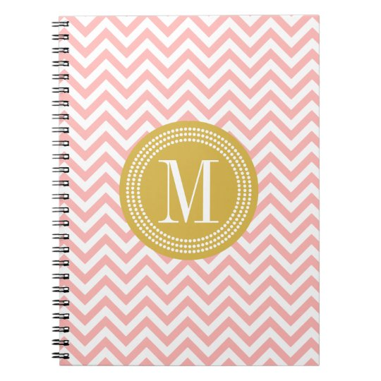 Blush Pink Chevron Zigzag Personalised Monogram Notebook