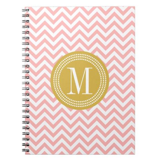 Blush Pink Chevron Zigzag Personalised Monogram Notebook