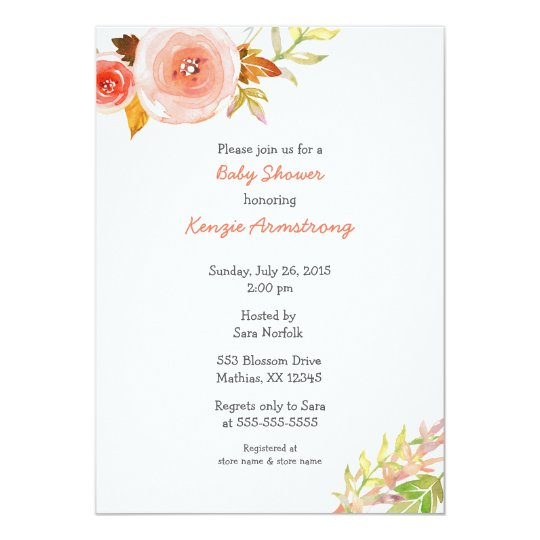 Blush Pink Coral Floral Baby Shower Invites