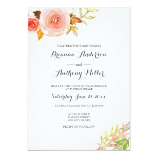 Blush pink coral Watercolor Floral Wedding Invite