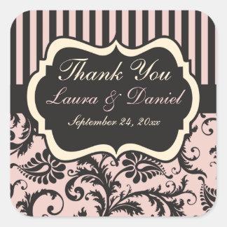 Blush Pink, Cream, Gray Wedding Favor Sticker