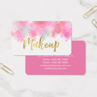 Blush Pink Crushed Makeup Business Card