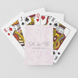 Blush Pink Elegant Marble Wedding Playing Cards