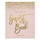 Blush Pink Faux Gold Glitter Guest Book Sign