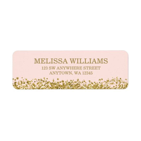 Blush Pink Faux Gold Glitter Return Address Label