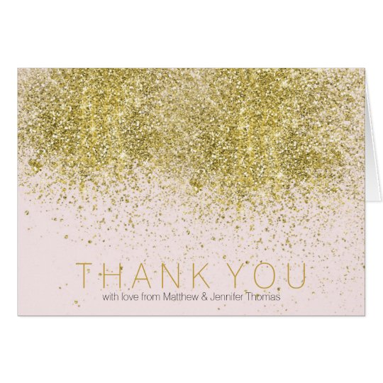Blush Pink Faux Gold Glitter Thank you Card