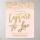 Blush Pink Faux Gold Glitter Wedding Hashtag Sign