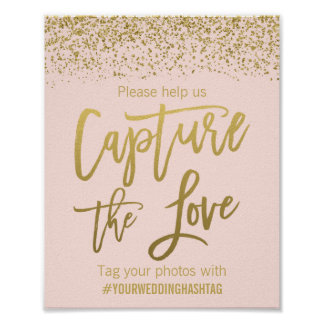Blush Pink Faux Gold Glitter Wedding Hashtag Sign