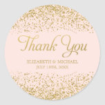 Blush Pink Faux Gold Glitter Wedding Thank You Round Sticker