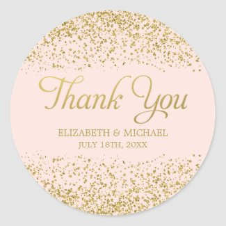 Blush Pink Faux Gold Glitter Wedding Thank You