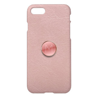 Blush Pink Faux Leather Glass Button Monogram iPhone 8/7 Case