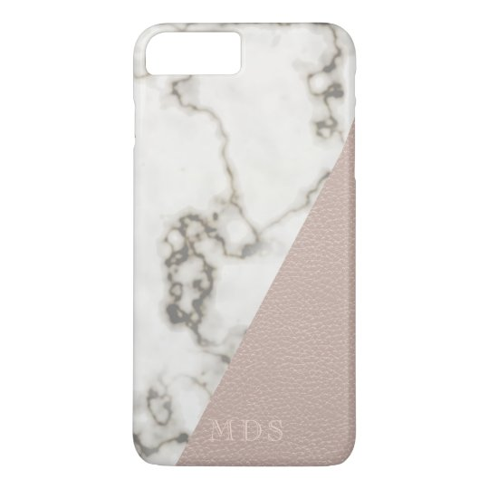 Blush Pink Faux Leather Modern Marble Monogram iPhone