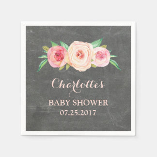 Blush Pink Floral Chalkboard Baby Shower Paper Napkin