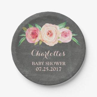 Blush Pink Floral Chalkboard Baby Shower Plate