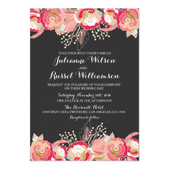 Blush Pink Floral & Chalkboard Wedding Invitation