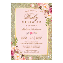 Baby shower invitations announcements zazzle uk blush pink floral gold sparkles baby shower card filmwisefo Choice Image