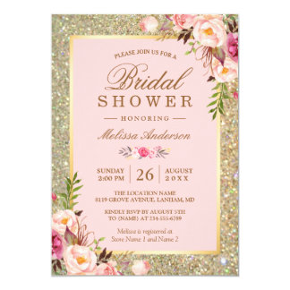 Blush Pink Floral Gold Sparkles Bridal Shower Card