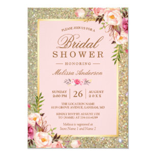 Bridal shower invitations zazzle blush pink floral gold sparkles bridal shower invitation filmwisefo