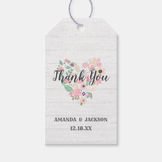 Blush Pink Floral Heart Modern Wedding Thank You