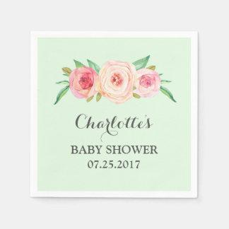 Blush Pink Floral Mint Baby Shower Paper Napkin