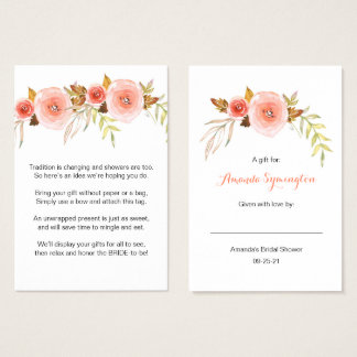 Blush Pink Floral No Wrap Shower request tag 3605b