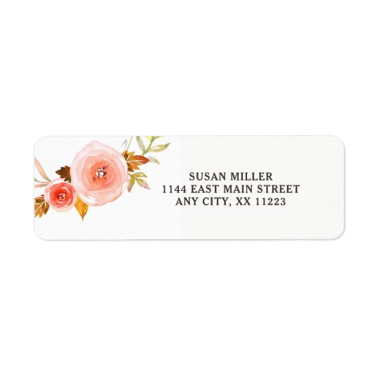 Blush Pink floral return address label 3605b