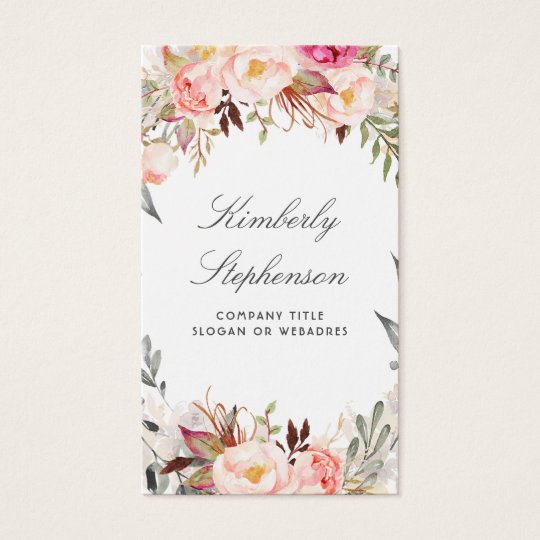 Blush Pink Floral Watercolor Elegant Business Card