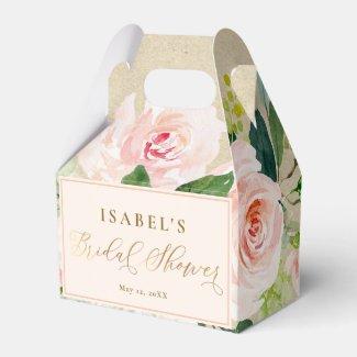 Blush Pink Floral Watercolor & Kraft Bridal Shower Favour Box
