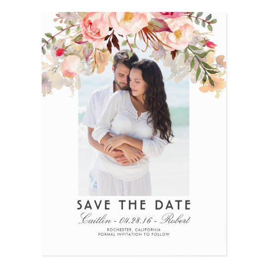 Blush Pink Floral Watercolor Photo Save the Date Postcard