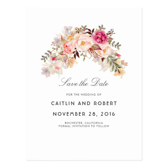 Blush Pink Floral Watercolor Save the Date Postcard