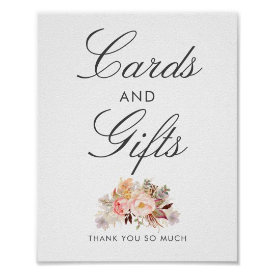 Blush Pink Floral Wedding Cards and Gifts Sign