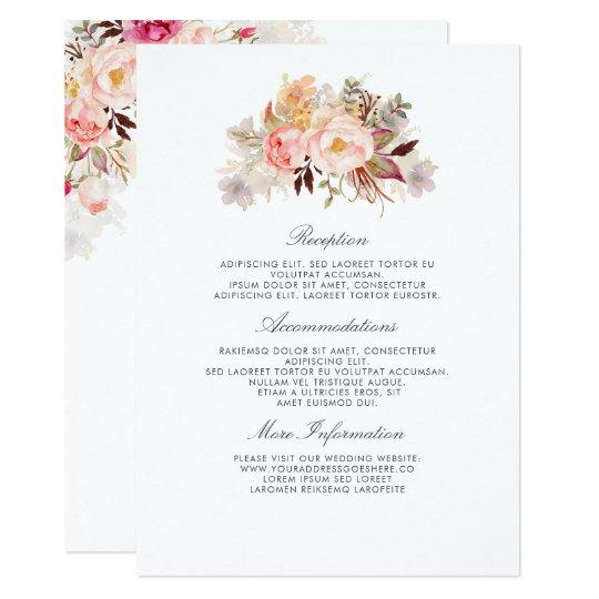 Blush Pink Floral Wedding Information Guest Card