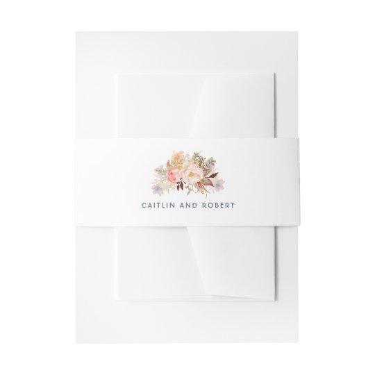 Blush Pink Floral Wedding Invitation Belly Band