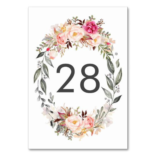 Blush Pink Floral Wedding Table Number Cards