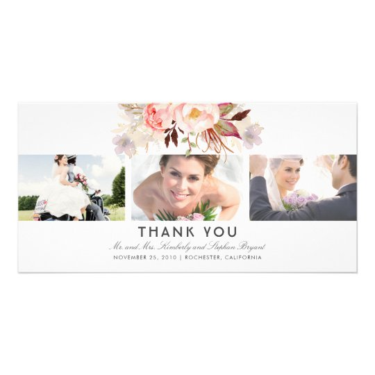 Blush Pink Floral Wedding Thank You Photo Card