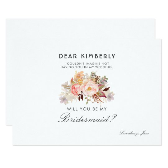 Blush Pink Floral Will You Be My Bridesmaid Card