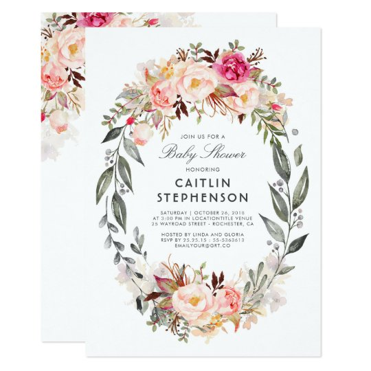 Blush Pink Floral Wreath Elegant Baby Shower Card