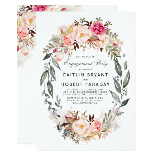 Blush Pink Floral Wreath Engagement Party Card