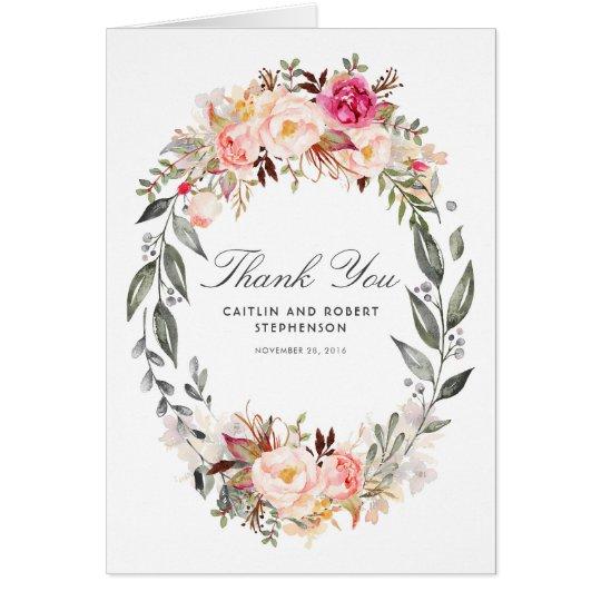 Blush Pink Floral Wreath Wedding Thank You Card