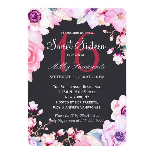 Blush Pink Flowers on Black Sweet 16 Invitations