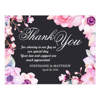 Blush Pink Flowers on Black Thank You Postcards