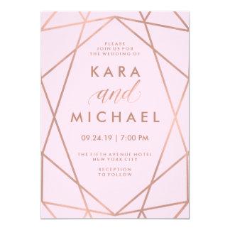 Blush Pink Geometric   Faux Rose Gold Wedding Card