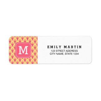 Blush Pink Geometric Monogram Address Label